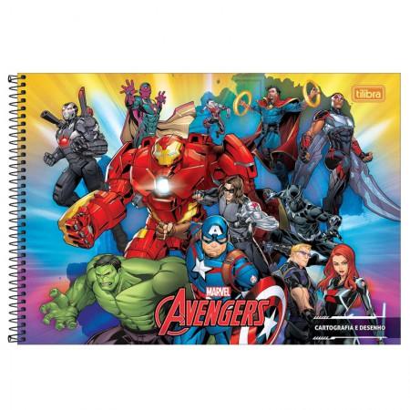 Caderno espiral capa dura cartografia - 80 folhas - Os Vingadores - Capa 2 - Tilibra
