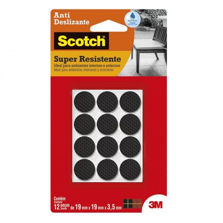 Feltro anti risco Scotch preto - redondo - P - 3M