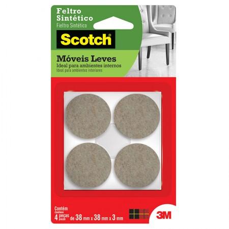Feltro adesivo Scotch marrom - redondo G - 4 unidades - 3M