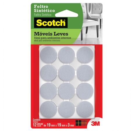 Feltro adesivo Scotch branco - redondo P - 12 unidades - 3M