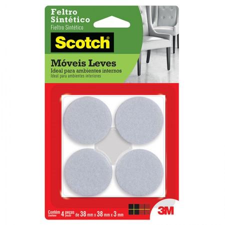 Feltro adesivo Scotch branco - redondo GG - 4 unidades - 3M