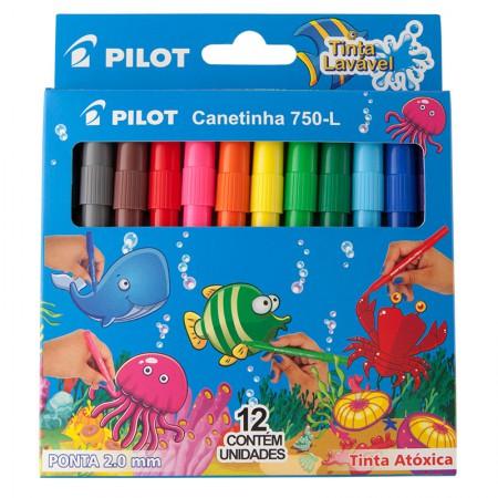 Caneta hidrográfica Color 750-L - com 12 cores - Pilot
