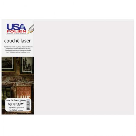 Papel fotográfico couchê glossy A3 170g - 8429 - com 50 folhas - Usa Folien