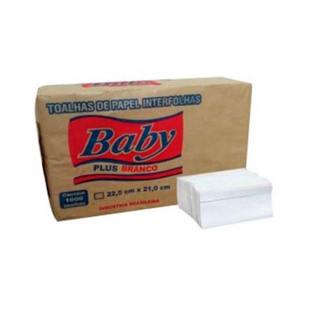 Papel toalha Interfolha branco plus 2 dobras - 22,5cm x 21cm - com 1000 folhas - Baby