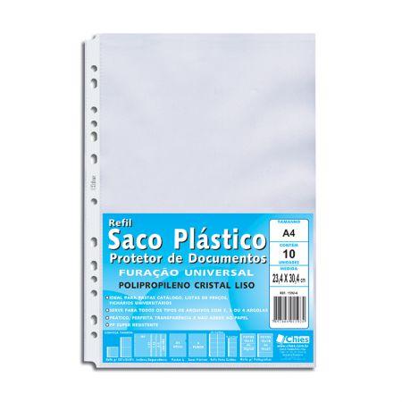 Envelope saco plástico A4 1592 cristal liso - pacote com 10 unidades - Chies