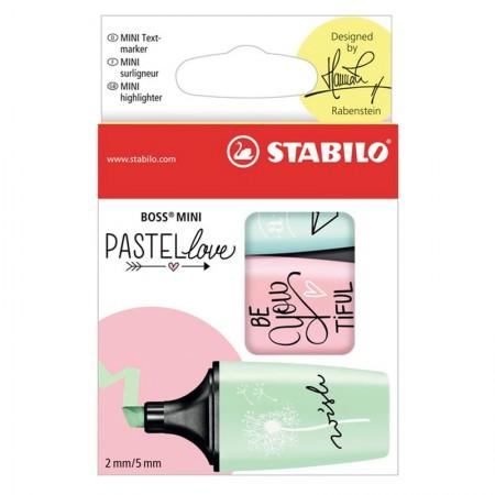 Pincel marca texto mini Boss Pastel Love - Estojo com 3 cores - 07/03-57 - Stabilo
