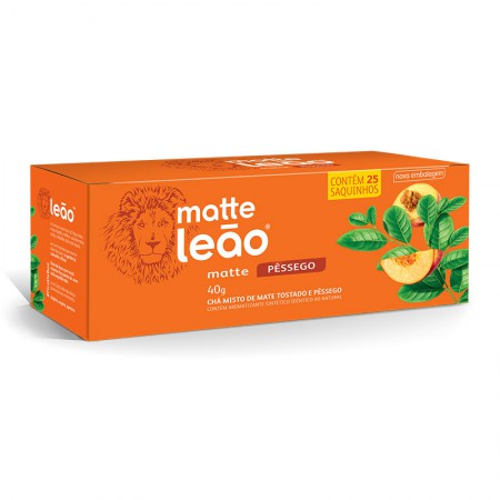 Chá mate com pêssego - com 25 unidades - Matte Leão