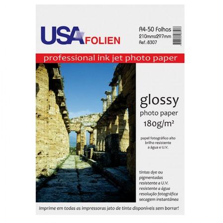 Papel fotográfico glossy paper A4 180g - 8307 - com 50 folhas - Usa Folien