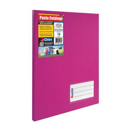Pasta catálogo ofício 2535 - pink - com 10 plásticos - Chies
