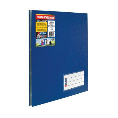 Pasta catálogo ofício 2538 azul 100 plásticos Chies