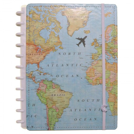 Caderno Inteligente grande Mapa Mundi - CIGD4095 - By Gocase
