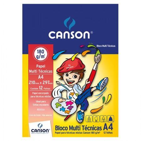 Bloco multi tecnicas A4 180g - com 12 folhas - Canson