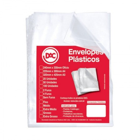 Envelope plástico A3 0.12 4 furos 5324 Pct 50 unid - Dac