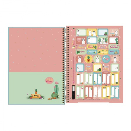 Caderno espiral capa dura universitário 1x1 - 80 folhas - Hello - 1 - Tilibra