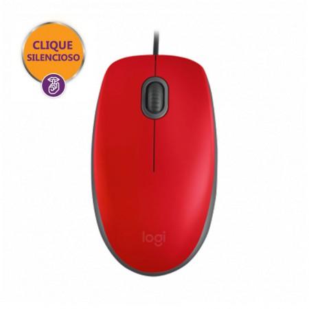 Mouse USB óptico M110 vermelho - Logitech