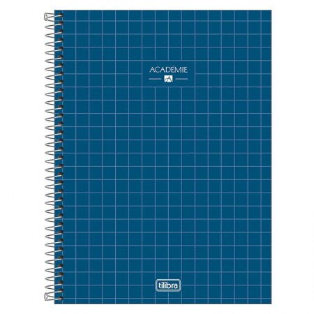 Caderno espiral capa dura universitário 10x1 - 160 folhas - Academie - Azul marinho - Tilibra