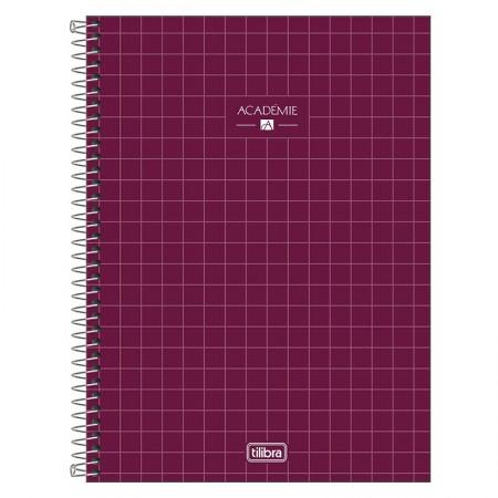 Caderno espiral capa dura universitário 10x1 - 160 folhas - Academie - Vinho - Tilibra