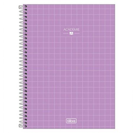 Caderno espiral capa dura universitário 1x1 - 80 folhas - Academie - Lilás - Tilibra