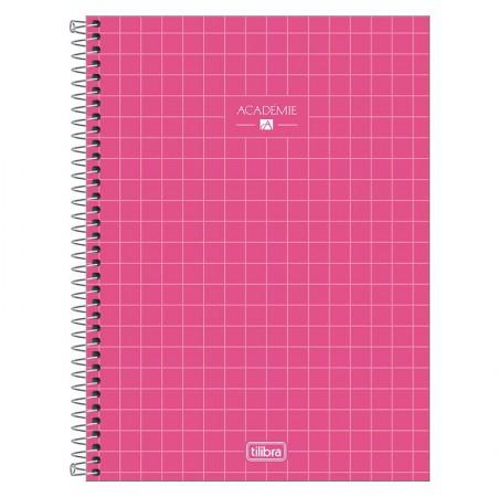 Caderno espiral capa dura universitário 1x1 - 80 folhas - Academie - Rosa - Tilibra
