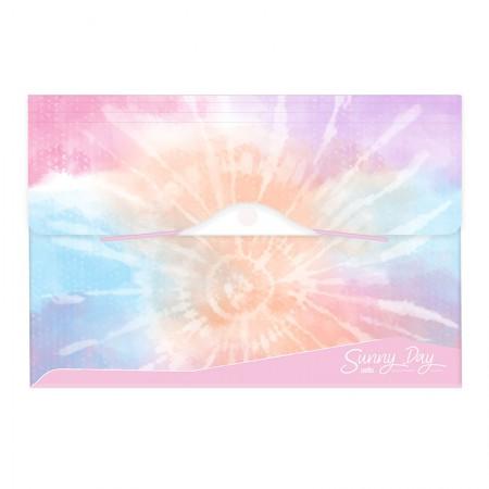 Pasta sanfonada A4 com 12 divisórias - Tie Dye Sunny Day - Rosa - 6100.02 - Dello