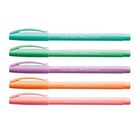 Caneta esferográfica Trilux Style Colors Pastel - com 5 unidades - 032/ES5TP - Faber-Castell