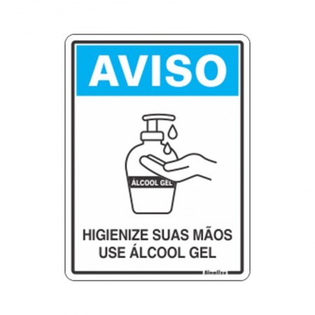Placa de poliestireno aviso higienize suas mãos use álcool gel COV02 - Sinalize