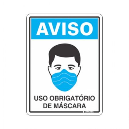Placa de poliestireno aviso uso obrigatório de máscara COV01 - Sinalize