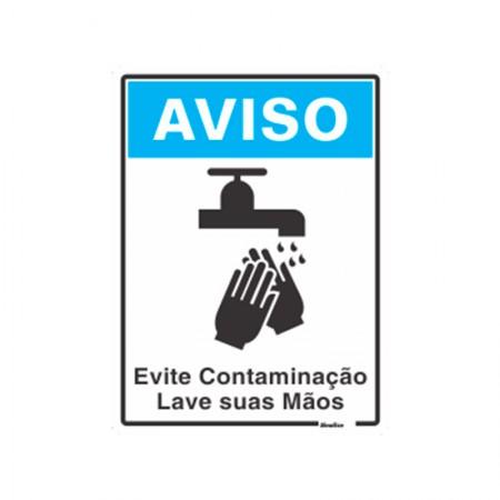 Placa de poliestireno evite contaminação lave suas mãos 220BT - Sinalize