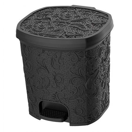 Cesto de lixo plást 8L Renda Floral Preto c/pedal 0623 Uninjet