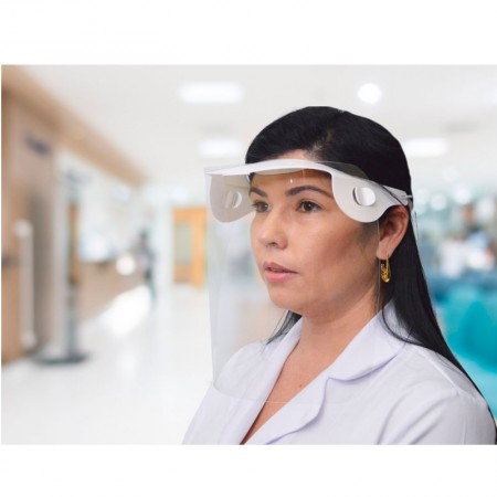 Protetor facial em pet com elastico desmontado Dello