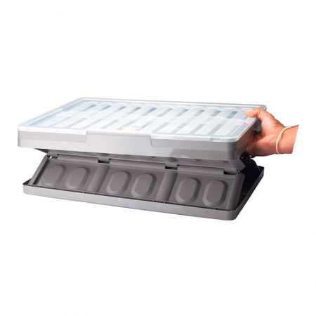 Caixa organizadora média dobrável - cinza - 9703 - Plasútil
