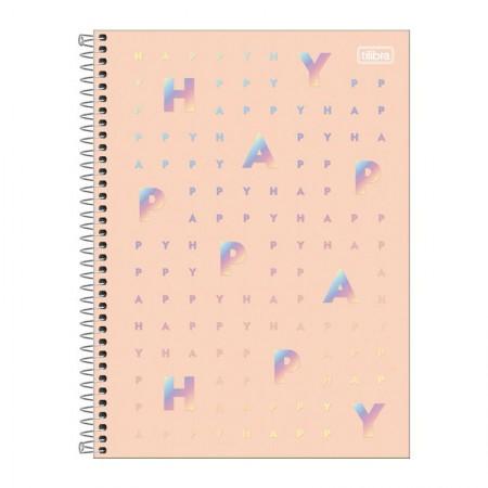 Caderno espiral capa dura universitário 1x1 - 80 folhas - Happy - Verde - Tilibra