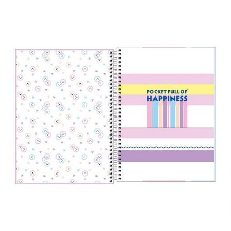 Caderno espiral capa dura universitário 1x1 - 80 folhas - Happy - Azul - Tilibra