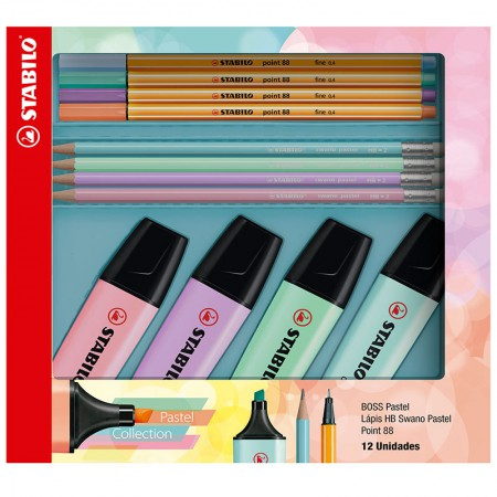Kit marca texto boss point 88 swano pastel 12 unid 553402 Stabilo