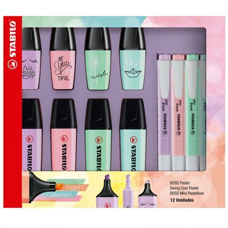 Kit marca texto boss + mini pastellove + swing cool pastel - com 12 unidades - 553403 - Stabilo