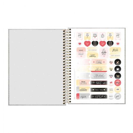 Caderno colegial capa dura 1x1 - 80 folhas - Cambridge Shine - Dourado - Tilibra