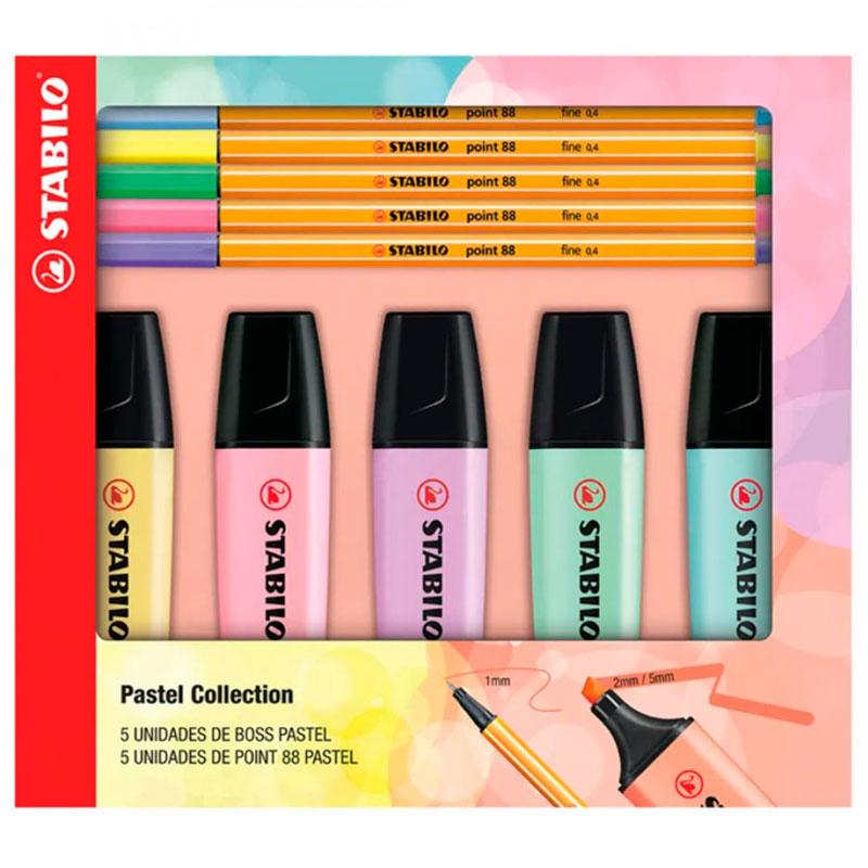 Kit marca texto boss + caneta point 88 pastel - com 10 unidades - 553400 - Stabilo