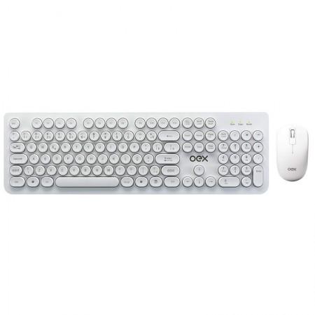 Teclado e mouse sem fio Wireless Branco - teclas redondas - TM410/BC - Oex