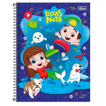 Caderno espiral capa dura universitário 1x1 - 80 folhas - Luccas Neto - Azul - Tilibra