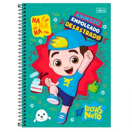Caderno espiral capa dura universitário 1x1 - 80 folhas - Luccas Neto - Verde Água - Tilibra
