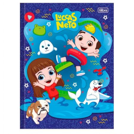 Caderno brochurão capa dura universitário 1x1 - 80 folhas - Luccas Neto - Azul - Tilibra