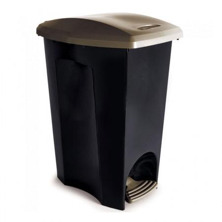 Cesto de lixo plástico Preto com pedal - 3497 - 50 Litros - Plasutil