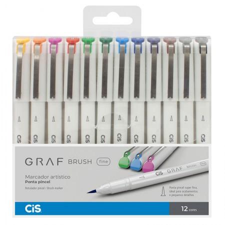 Caneta marcador artistico Graf Brush Fine - 12 cores - Cis