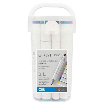 Caneta marcador artistico Graf Duo - 12 cores - Cis