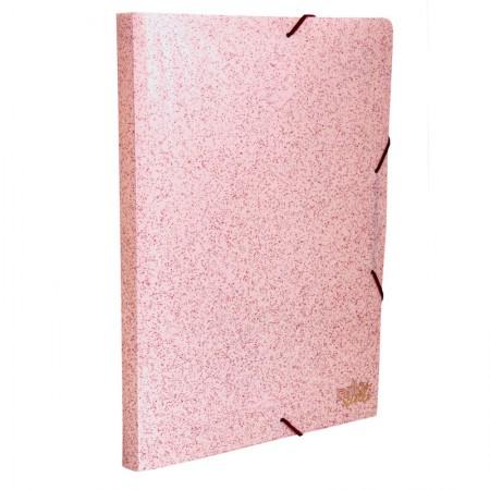Pasta aba elástico ofício lombo 20mm - Secrets - Rosa glitter - 275.W - Dello