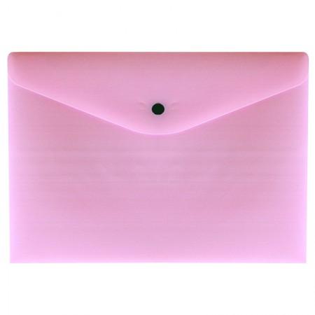 Envelope plástico com botão A4 - 0012.WP - Rosa Pastel - Dello