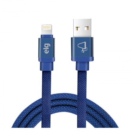 Cabo usb Iphone sincro/recarg lightning tecido canvas 1M CNV810BE Azul Elg