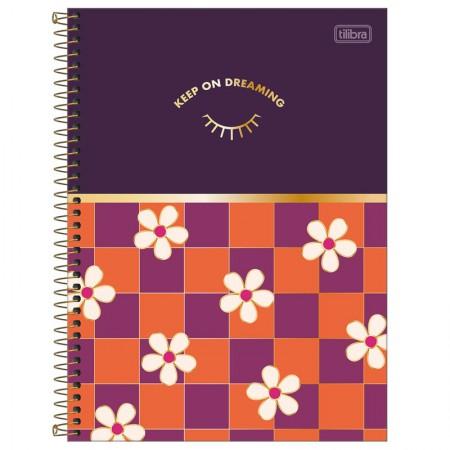Caderno espiral capa dura cartografia - 80 folhas - Happy - Azul pastel - Tilibra
