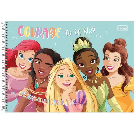Caderno espiral capa dura cartografia - 80 folhas - Princesas - Rapunzel, Aurora e Branca de Neve - Tilibra
