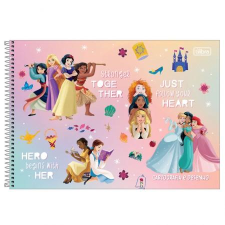 Caderno espiral capa dura cartografia - 80 folhas - Princesas - Cinderella, Ariel e Bela - Tilibra